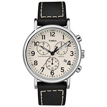 Timex Men's TW2R42800 Weekender Chrono Black/Cream Leather Strap Watch