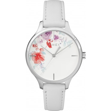 Timex TW2R66800 Women's Swarovski White Leather Strap Watch