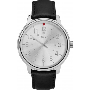 Timex TW2R85300 Men's Black Leather Strap Watch