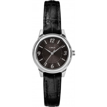 Timex TW2R86300 Women's Black Croco Print Leather Strap Watch
