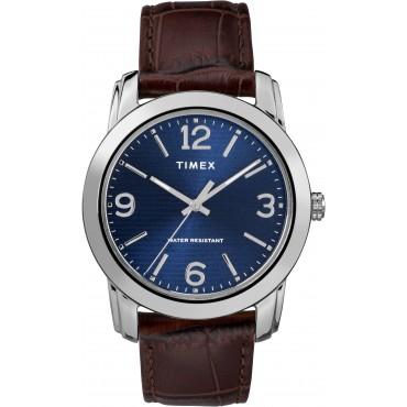 Timex TW2R86800 Men's Brown Croco Print Leather Strap Watch