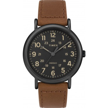 Timex Men's TW2T30500 Weekender Brown Leather Strap Watch