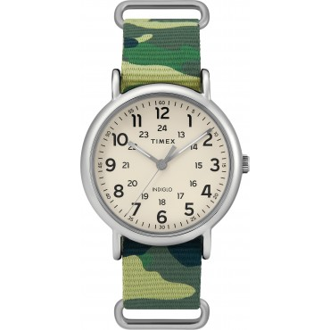 Timex TW2T30800 Weekender Green Camo Nylon Slip-Thru Strap Watch
