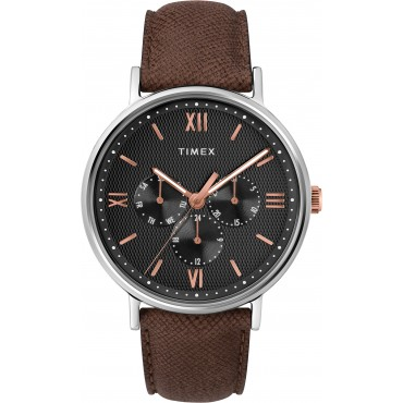 Timex Men's TW2T35000 Southview Multifunction Brown Leather Strap Watch