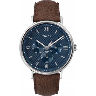Timex Men's TW2T35100 Southview Multifunction Brown/Silver/Blue Leather Strap Watch