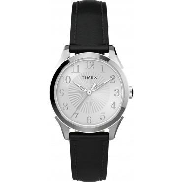 Timex TW2T66600 Women's Briarwood 28mm Black Leather Strap Watch