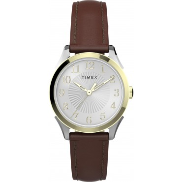 Timex TW2T66700 Women's Briarwood 28mm Tan Leather Strap Watch