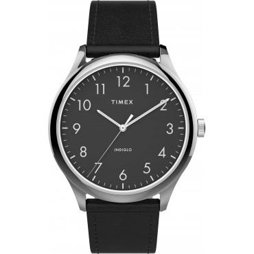 Timex TW2T71900 Men's Modern Easy Reader   40mm Black Leather Strap Watch