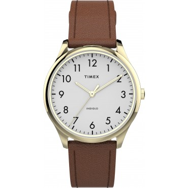 Timex TW2T72300 Women's Modern Easy Reader   32mm Brown Leather Strap Watch