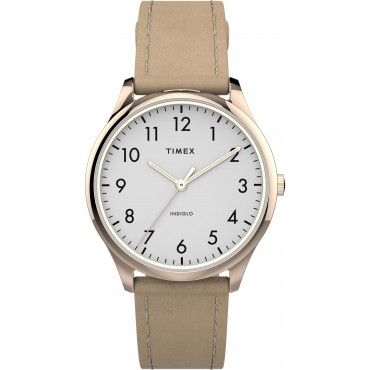 Timex TW2T72400 Women's Modern Easy Reader   32mm Beige Leather Strap Watch