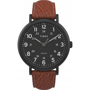 Timex TW2T73500 Men's Weekender   XL 43mm 2-piece Brown Leather Strap Watch