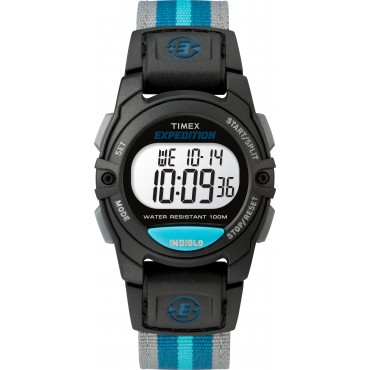 Timex TW4B13100 Unisex Expedition Mid CAT Black/Blue Nylon Strap Watch