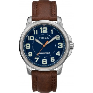 Timex TW4B16000 Men's Expedition   Metal Field Brown Leather Strap Watch