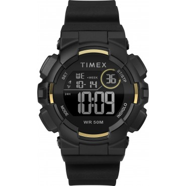 Timex TW5M23600 Mako DGTL Digital 44mm Black/Gold-Tone Silicone Strap Watch