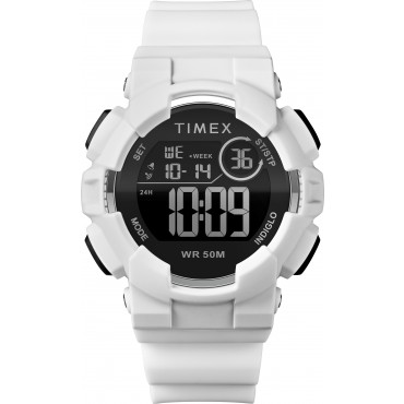 Timex TW5M23700 Mako DGTL Digital 44mm White/Black Silicone Strap Watch