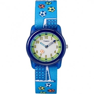 Timex Boys TW7C16500 Time Machines Blue Soccer Elastic Fabric Strap Watch