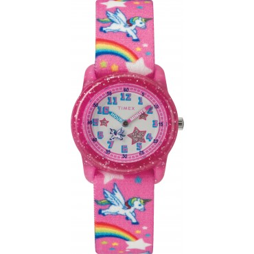 Timex TW7C25500 Youth Pink Rainbows/Unicorns Adjustable Elastic Fabric Strap Watch