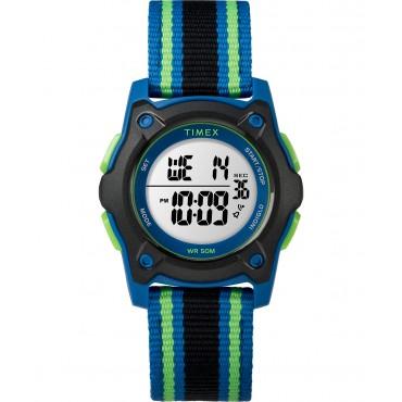 Timex TW7C26000 Youth Digital Blue/Green/Black Striped Nylon Strap Watch