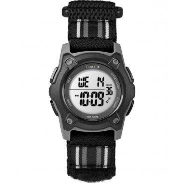 Timex TW7C26400 Youth Digital Black/Grey Striped Fastwrap   Strap Watch