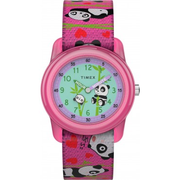 Timex TW7C77100 Kids Analog 28mm Pink Panda Bears Elastic Fabric Strap Watch