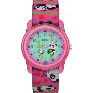 Timex TW7C77100 Kids Analog 28mm Pink Panda Bears Elastic Fabric Strap Watch