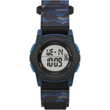 Timex TW7C77400 Kid's Digital 35mm Blue Camo Fastwrap   Fabric Strap Watch