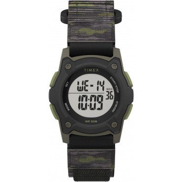 Timex TW7C77500 Kid's Digital 35mm Green Camo Fastwrap   Fabric Strap Watch