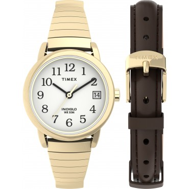 Timex TWG025300 Easy Reader   25mm Expansion Band Watch and Leather Strap Box Set