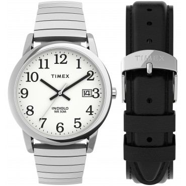 Timex TWG025400 Easy Reader   35mm Expansion Band Watch and Leather Strap Box Set