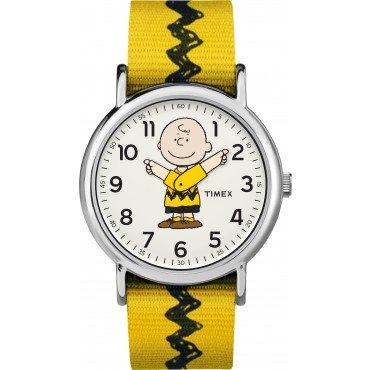 Timex Unisex TW2R41100 Weekender x Peanuts: Charlie Brown Nylon Slip-Thru Strap Watch