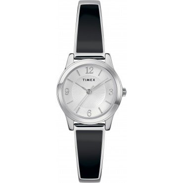 Timex TW2R92700 Women's Black/Silver-Tone Stainless Steel Expansion Band Bangle Watch