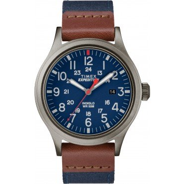 Timex TW4B14100 Men's Expedition   Scout Navy Blue Nylon Strap with Brown Leather Trim Watch