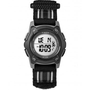 Timex TW7C26400 Youth Digital Black/Grey Striped Fastwrap   Strap Watch